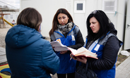 Svitlana Tavantseva (right) counsels survivors of violence in Ukraine. Too often, she says, women are shamed rather than perpetrators. © UNFPA Ukraine/Maks Levin